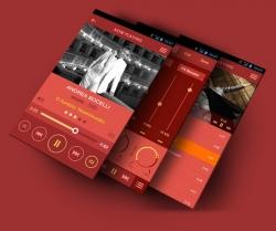 国外的一款音乐app产品ui界面设计 用色大胆