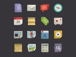 一组多彩的扁平化icon图标设计 舒服的颜色