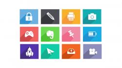 一组长阴影风格的icon图标集