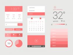 粉红色风格的日历天气App UI组件工具包