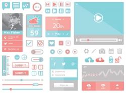 红蓝搭配的一组手机APP UI功能界面设计工具包