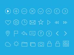 一组扁平化线条icon图标集