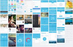 超酷蓝色扁平化风格的APP UI设计工具包