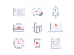简洁小清新风格的图标元素下载