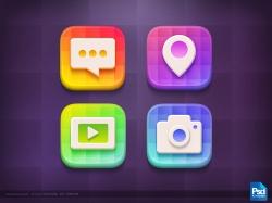 炫丽多彩的立体感风格的icon图标源文件