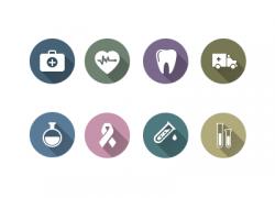 长影阴风格的医学健康类icon图标源文件