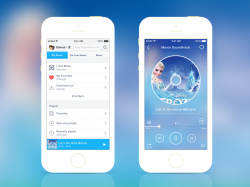 一款蓝色界面风格的音乐Music APP设计