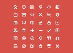 36个粗线框图标PSD源文件下载