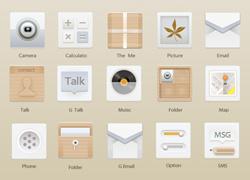 带点小清新木纹风格的手机UI icon设计