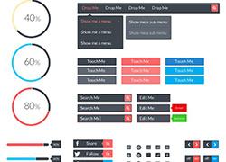 扁平化界面组件工具包psd下载