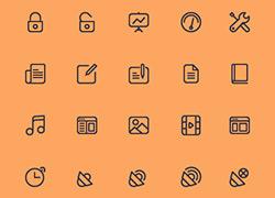 40个优质的线框轮廓icon图标psd下载