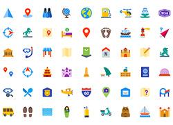 150个扁平化旅游类图标eps、png、svg源文件下载