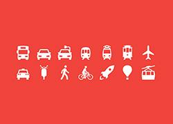 扁平化交通工具图标psd下载