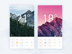 Weather Display小清新风格的天气UI界面设计