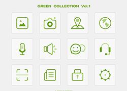12个绿色常用icon小图标psd下载