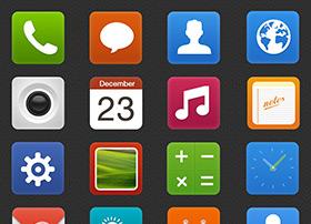 一组扁平化风格的系统icon图标