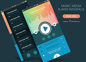 国外彩色风格的音乐播放UI界面设计