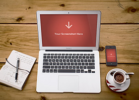 MacBook Air 高品质桌面场景PSD源文件下载