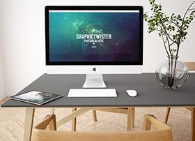三组超精致的Apple iMac电脑模型PSD源文件下载