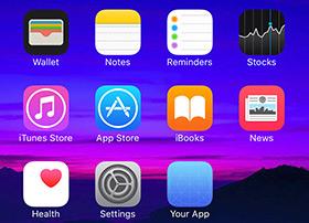 iphone 6s 主屏幕图标模板psd源下载