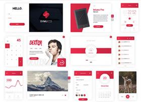 经典超赞红色风格的Daily UI 30 psd全套源文件下载