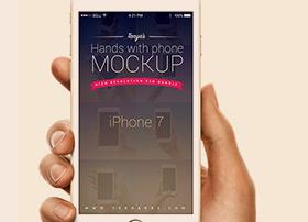 手持三星Galaxy S7和iPhone7手机模型PSD源文件下载