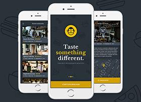 黑色加黄色风格Foodmonkey Mobile App psd源文件下载