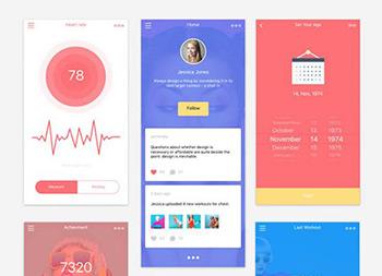 扁平化健身app ui sketch全模板下载
