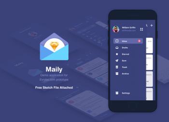 深蓝色Email app UI sketch源文件下载