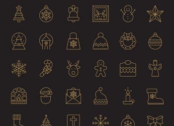 一组线性圣诞节icon图标下载(ai/eps/png/svg)