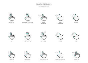 一组优雅的触屏手势图标ai源文件下载
