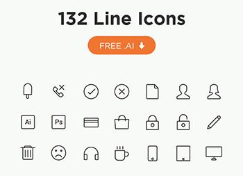 132个线型icon图标ai矢量源文件下载