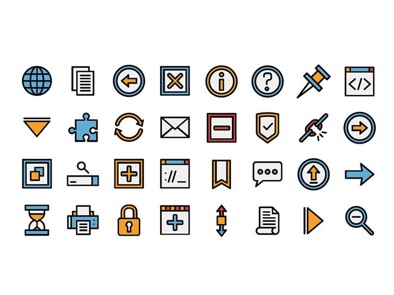 70个彩色线性图标icon合集下载