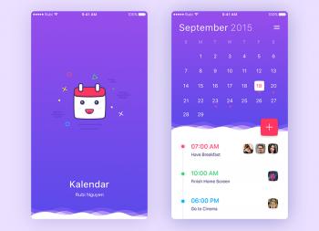 蓝色风格日历 app UI sketch源文件下载