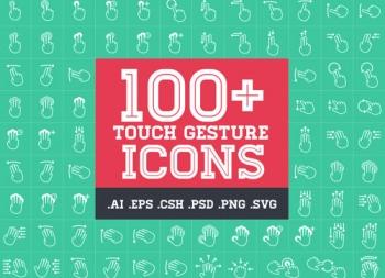 APP交互设计师常用100个触屏手势矢量素材