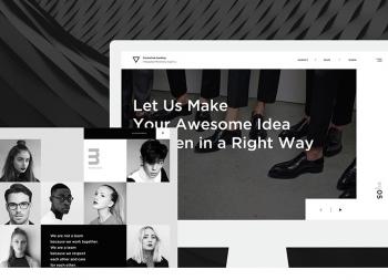 一组黑白时尚文艺范十足的网页界面设计