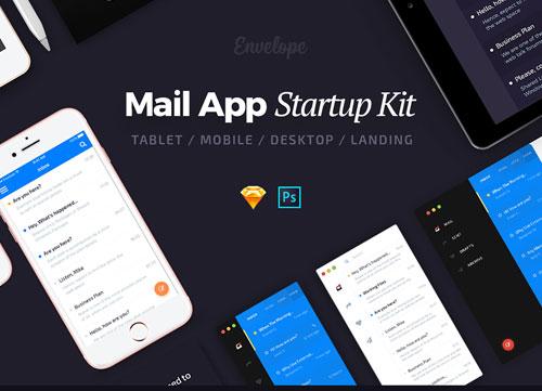 简洁的桌面端邮件类 APP UI 模板PSD和Sketch源文件