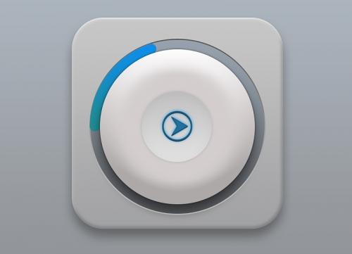 用PS绘制蓝色渐变拟物化的播放按钮UI教程学习