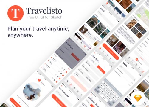 超棒的一组旅游景点类app素材包sketch下载