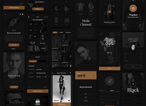 黑色和金色风格奢侈电商iOS UI Kit素材合集
