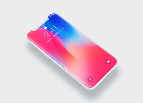 斜面iPhone X手机模型PSD源文件下载
