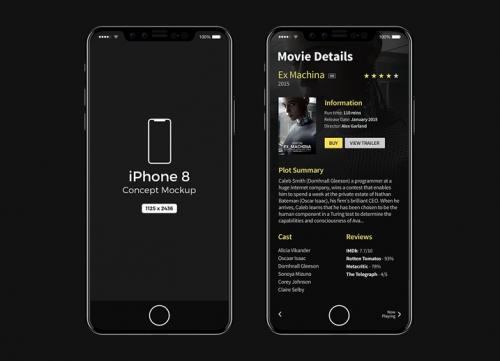 正面黑色iphone8手机模型样机psd源文件