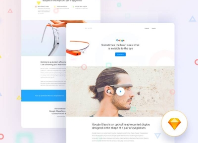 Google Glass落地页设计sketch下载
