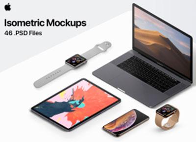 apple苹果最新全家桶产品模型样机psd源文件下载