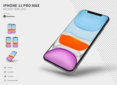 三个不同角度的iPhone 11 Pro Max样机模型